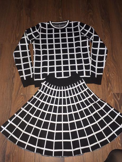 Komplet Chanel 36/S krata dzianinowy sweterkowy czarno biały zara