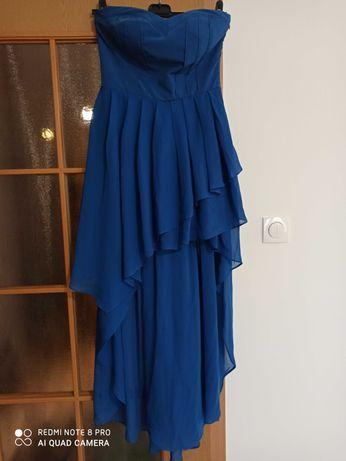 Sukienka chabrowa gorsetowa 38
