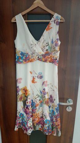 Sukienka koktajlowa, piękna ecru w kwiaty, rozmiar 38