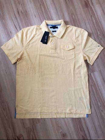 Żółta koszulka z kołnieżem Tommy Hilfinger