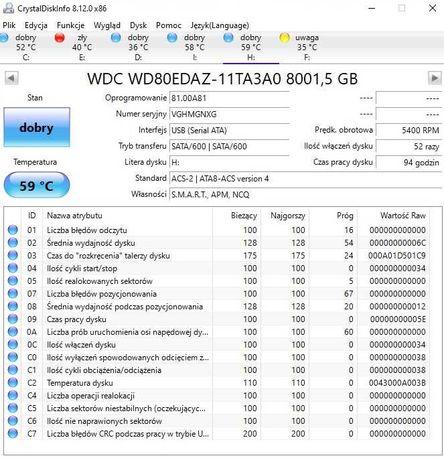 Dysk wd 8tb WDBBGB0080HBK-EESN