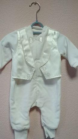 Новый Крестильный набор для мальчика 68 см велюровый молочный