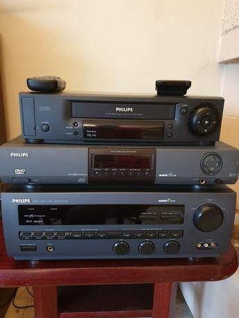 Amplituner Philips FR 980, Odtwarzacz DVD 930, Magnetovid VHS