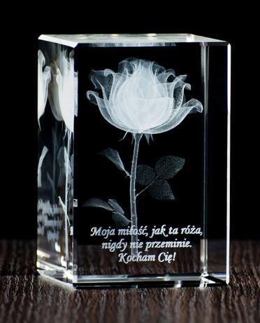 Róża 3d w krysztale