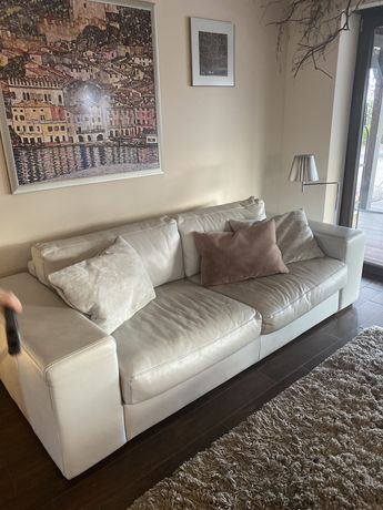 Zestaw wypoczynkowy: sofa plus dwa fotele SKÓRA! Kolor Gołebi