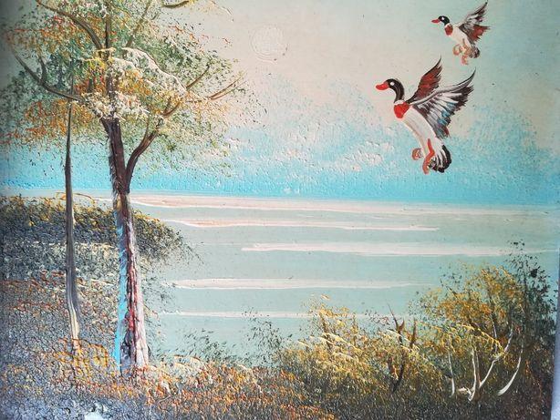 obraz olejny , zatoka , pejzaż , drzewa , kaczki
