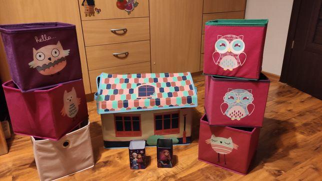 Zestaw pudełek pojemniki na zabawki pudełka różowe domek