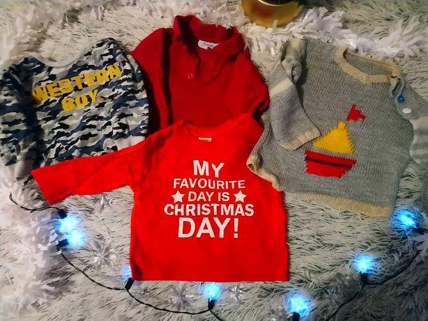Zestaw 4 bluzeczek dla niemowląt rozmiar 68 w tym świąteczne