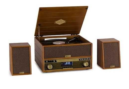 Auna Belle Epoque 1910 Wieża Retro   FM CD Gramofon AUX BT USB
