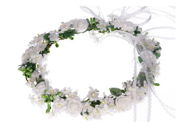 Wianek komunijny z kwiatuszków, wianuszek, ozdoba włosów