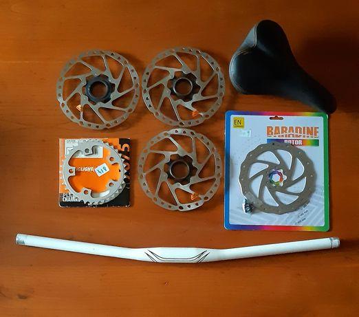 Peças bicicleta (dh; btt; downhill) banco, discos, guiador, prato