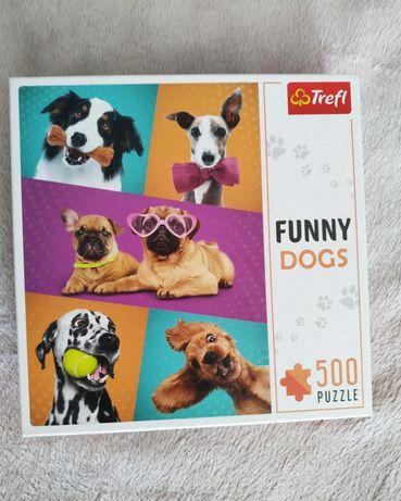 Puzzle trefl 500 elementów FUNNY DOGS