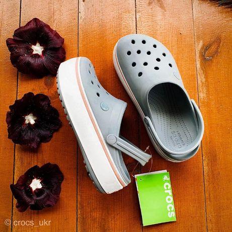 Купить Женские Кроксы на Платформе Crocs Crocband Platform Grey 36-39р