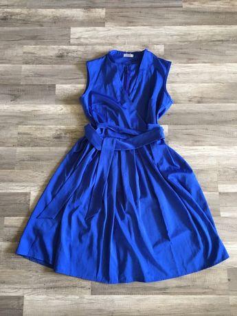 Платье на запах синее