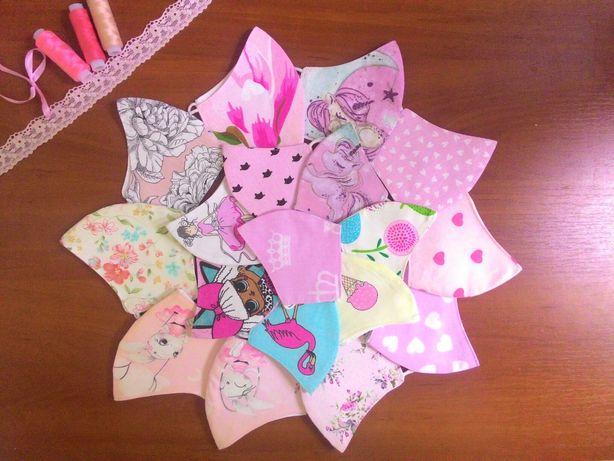 Маски детские защитные розовые. Многоразовые. Не медицинские