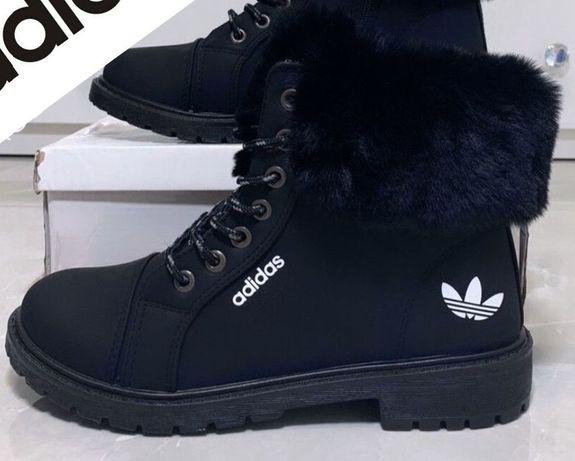 Nowe buty zimowe półbuty trapery ocieplane botki czarne r. 38-38,5