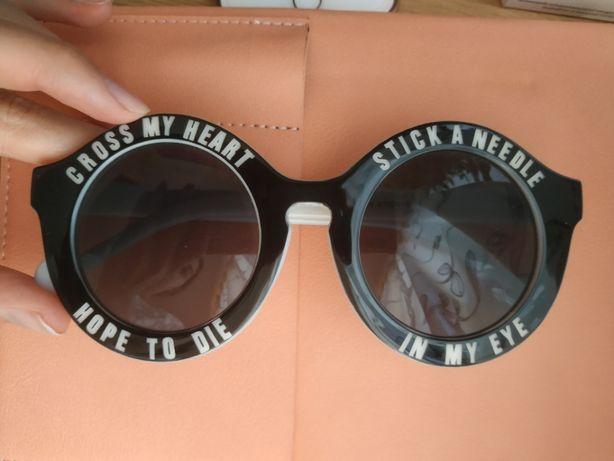 ZARA okulary przeciwsłoneczne czarne białe okrągłe