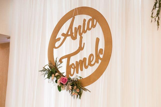 Koło dekoracyjne nad weselny stół - Ania i Tomek
