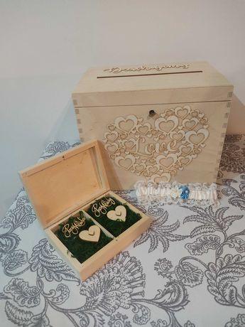 Skrzynka na koperty i pudełko na obrączki ślubne