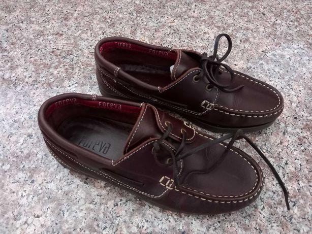 Sapatos de Vela  em pele genuína com atacadores, Tamanho 36