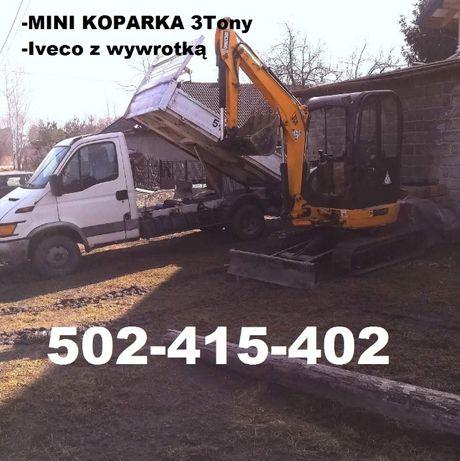 Usługi Minikoparka 3t -Iveco -> WIERTNICA Kraków Wieliczka Niepołomice
