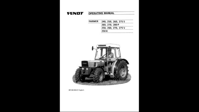 FENDT FARMER 240,250,260,270,280,275v instrukcja obsługi