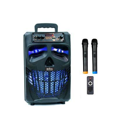 Караоке автономная колонка с Двумя радио микрофонами 120 Вт