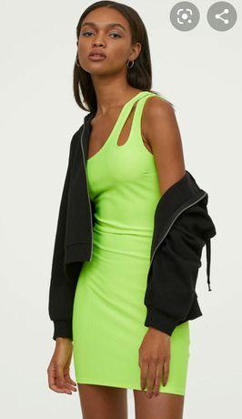 Стильное платье на одно плечо неоновое новое H&M hm, xs/s