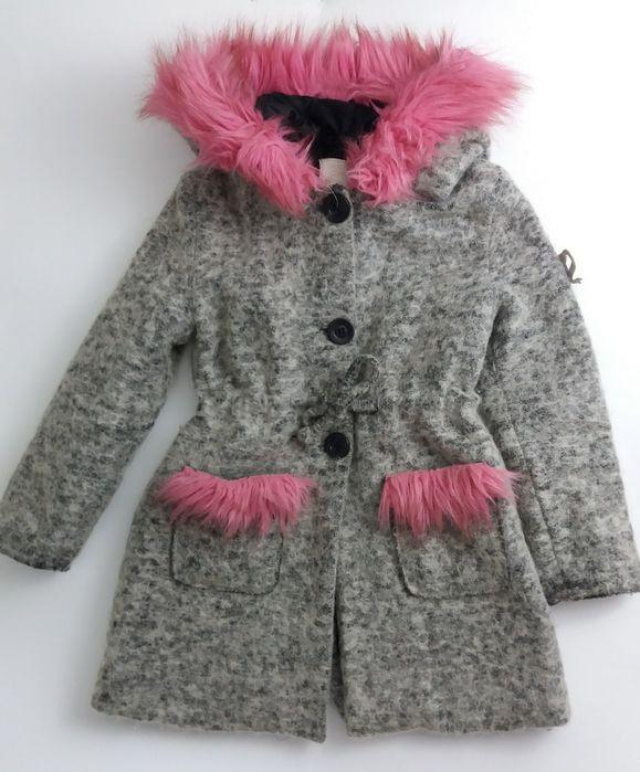 Płaszczyk zimowy na dziewczynkę, elementy różowego futerka Słupca - image 1