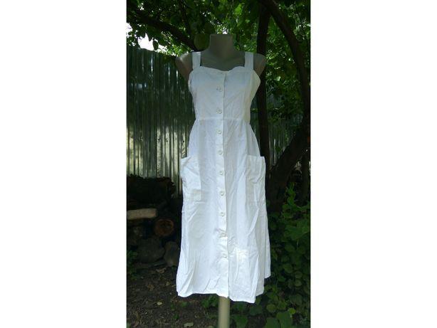 Хлопковое белое платье миди срафан белый пуговицы карманы сукня міді
