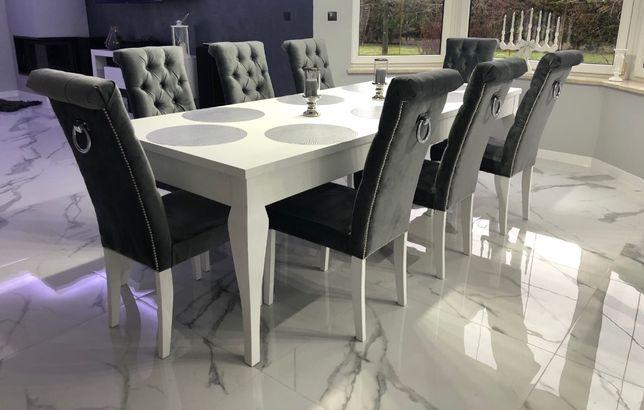 Krzesło pikowane chesterfield glamour eleganckie z kołatką tapicerowan