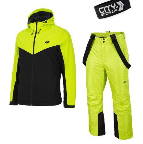 MĘSKI Kombinezon narciarski 4F LIMONKOWY kurtka KUMN002 + spodnie 5tyś