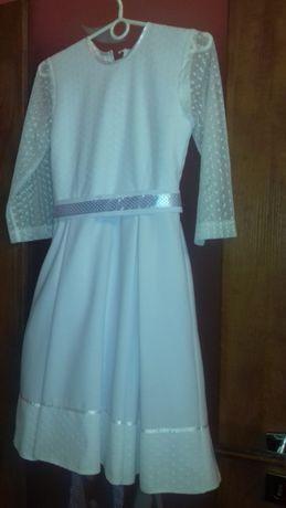 Biała sukienka dla dziewczynki 146 cm