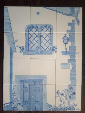 painel de azulejos Óbidos  pintados á mão assinado