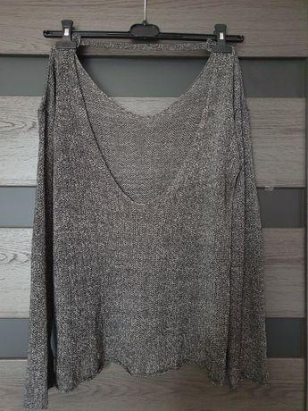 H&M sweter dwustronny szary dekolt S 36