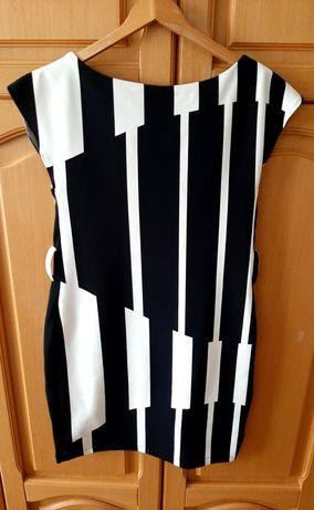 Sukienkę ładną czarną z białym mini