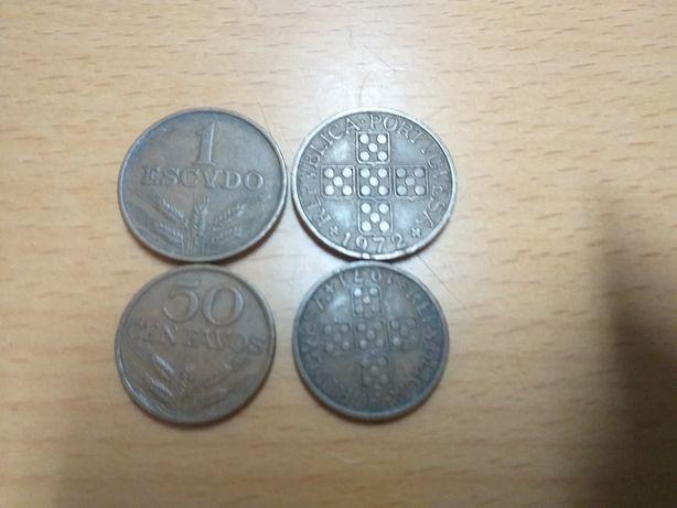 Lote de moedas de 1 escudo e 50 centavos