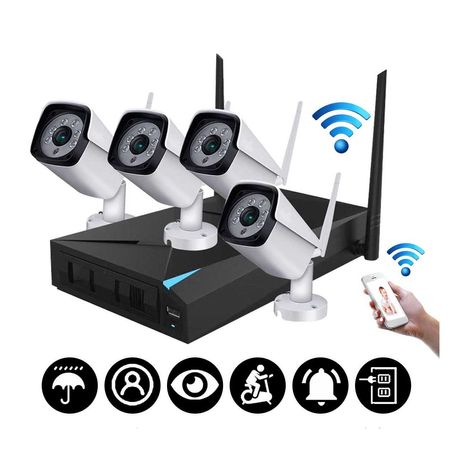 Sistema Vigilância WIFI • 4 Cameras Profissional  •  1080P • IP67