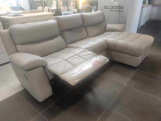 Кутовий шкіряний диван з реклайнером і отаманкою