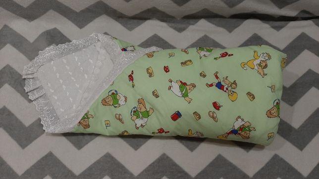 Конверт одеяло на выписку,на липучке,для мальчика,в коляску,плед