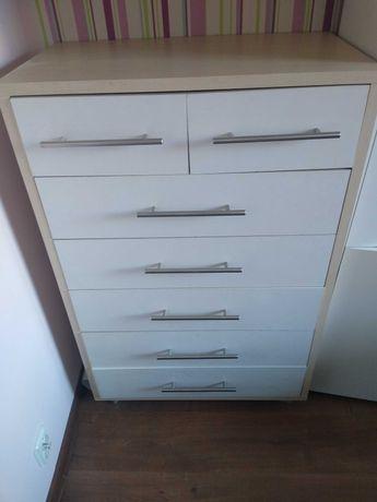 Biała komoda z szufladami: 7 szuflad 40x70x107
