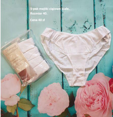 Białe majtki ciążowe 5-pak figi r 40 L nowe