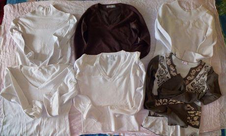 6xsweterki cienkie i 1xbluzkeczka z długim rękawem