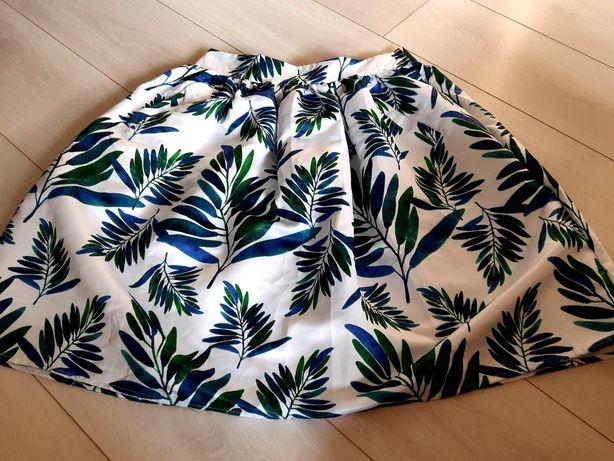 NOWA biała spódnica w motywy roślinne, rozmiar S/36