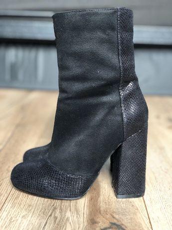 Botki krótkie kozaki buty kozaczki na słupku ciepłe zamsz 36