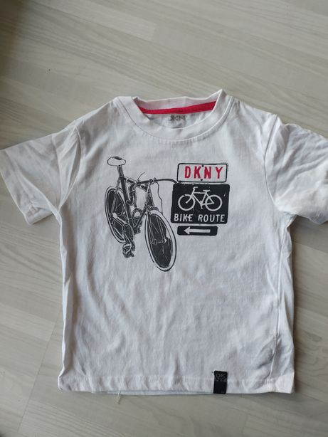 DKNY bialy t-shirt rower 98 cm