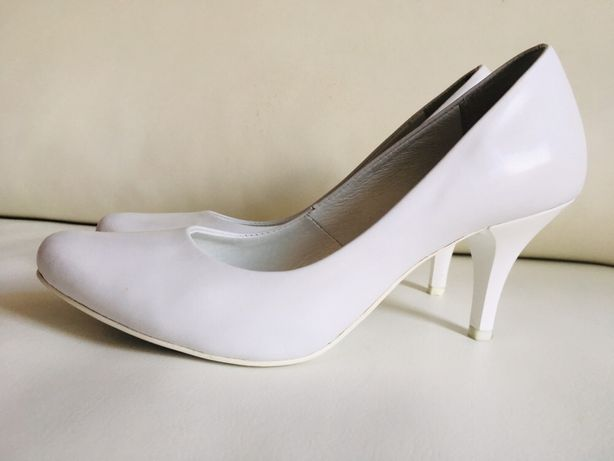 Buty ślubne obuwie do ślubu białe skórzane OLSZEWSKI 7 cm 36 klasyczne