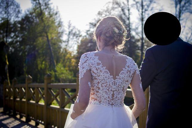 Śmietankowa suknia ślubna z długim rękawem, rozmiar 34