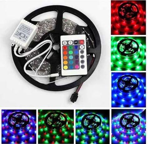 Светодиодная лента RGB 5 м, разноцветная, блок питания,пульт. LED 3528