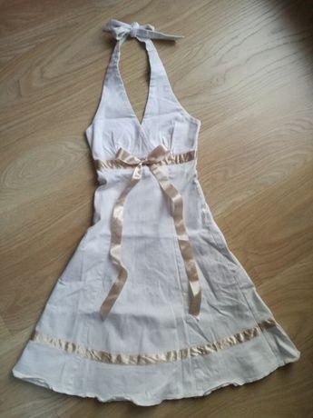 Sukienka 128-134 cm dla dziewczynki na wesele elegancka biała kokarda